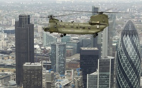 Picture the city, helicopter, Chinook