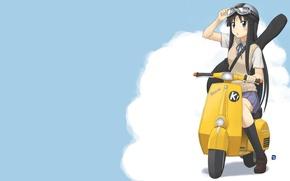 Picture guitar, moped, K-ON, Akiyama Mio, anime.