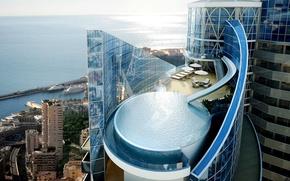 Picture sea, pool, the hotel, Monaco, Odeon Tower