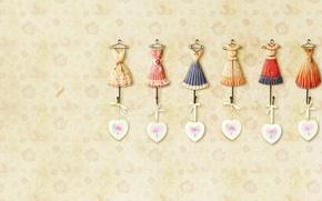 Picture background, pink, Wallpaper, heart, texture, outfit, heart, bow, dress, beige, dresses, hanger, cvetochki