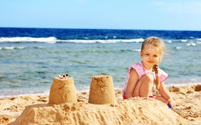 Picture sand, sea, shore, sea, Coast, child, little girl, Little girls