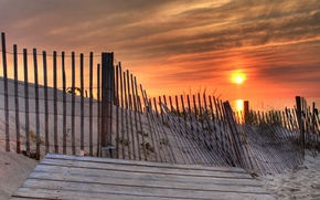 Picture sand, the sun, shore, The fence