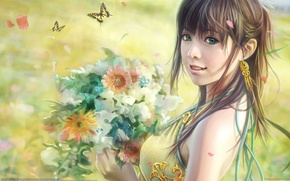 Picture butterfly, flowers, figure, bouquet, i-chen lin