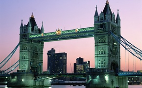 Picture water, bridge, the city, England, London, the evening