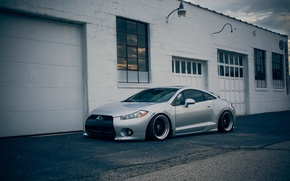 Picture Mitsubishi, grey, Eclipse, garages, eklips, Mitsubishi, stance