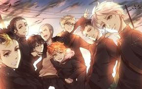 Picture the sky, clouds, anime, art, team, guys, Haikyuu!!, tobio kageyama, tsukishima kei, volleyball!!, azumane asahi, …