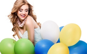 Picture girl, balls, joy, smile, makeup, dress, hairstyle, white background, beads, brown hair, air, colorful