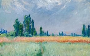 Picture landscape, nature, picture, Claude Monet, Wheat Field