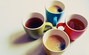 Wallpaper tea, mugs, art, bright, background, coffee, Wallpaper, different, color, Cup, photo