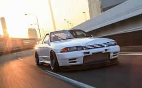 Picture tuning, speed, nissan, turbo, road, skyline, japan, Nissan, jdm, tuning, gtr, sun, speed, highway, r32, …
