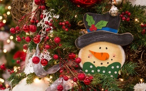 Picture decoration, snowman, tree, tinsel