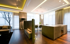 Picture design, style, interior, living, apartment, kitchen and dining area in elegant luxurious design