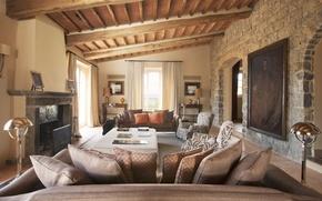 Picture design, style, Villa, interior, fireplace, living room, living room, villa Santanna