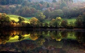 Picture house, forest, trees, shore, Nature, river, landscape