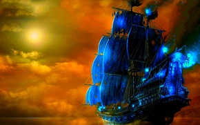 Picture the sky, water, night, fire, the moon, ships