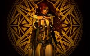 Picture pose, Girl, armor, symbol, warrior, straps