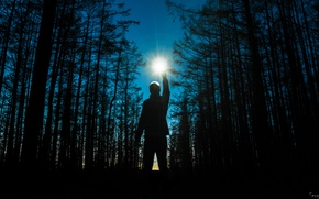 Picture Night, Trees, Fire, Forest, Space, Star, Light, Hand, Silence, Guy, Twilight, Stars, Male, Photo