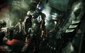 Picture night, the city, weapons, rain, the moon, costume, Gotham, Arkham Knight, Batman: Arkham Knight