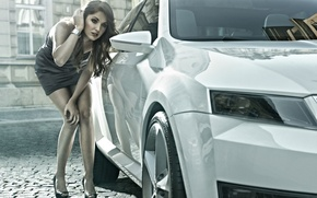 Wallpaper Concept, white, girl, face, hair, the concept, legs, beauty, the front, Vision D, Skoda, vision ...