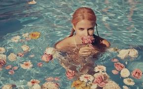 Picture water, girl, flowers, face, sexy, background, model, sexy, beauty, Alena Blohm, Alena Blohm