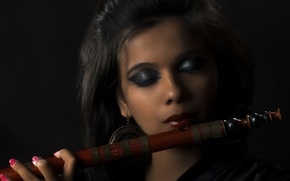 Picture girl, music, Bamboo Flute