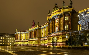 Picture night, lights, Germany, area, Berlin, old library