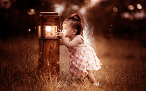 Picture background, girl, lamp