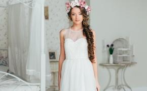 Picture look, girl, face, model, portrait, makeup, dress, white, elegant, wreath, studio, blue-eyed, pretty, beauty, nice, …