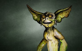 Picture Mohawk, eared, a mythical creature, toothy, dark background, greenish, Gremlin, Gremlin