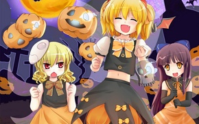 Picture anime, pumpkin, Halloween, Kawai