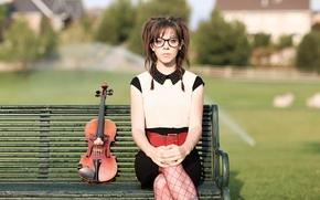 Picture bench, violin, violin, Lindsey Stirling, Lindsey Stirling