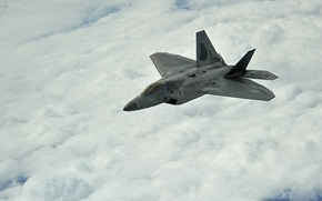 Picture clouds, flight, the plane, F-22, Raptor, Stealth, UNITED STATES AIR FORCE, Lockheed/Boeing, multi-purpose fighter of …