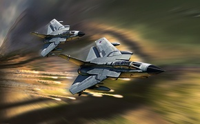 Picture art, fighter-bomber, Panavia, Tornado, combat jet aircraft with variable sweep wing