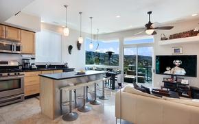 Picture design, sofa, furniture, interior, window, kitchen