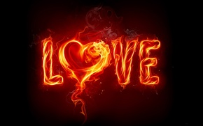 Picture love, fire, heart