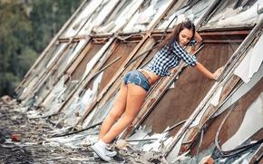 Picture ass, girl, shorts, cut, glass