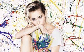 Picture paint, makeup, actress, t-shirt, hairstyle, blots, singer, sitting, Miley Cyrus, American, thought, Miley Cyrus, It