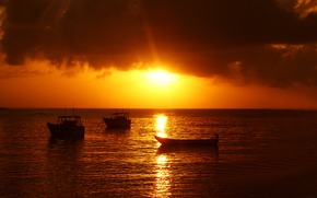Picture sea, the sky, clouds, sunset, boat