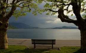 Picture trees, mountains, bench, lake, shop