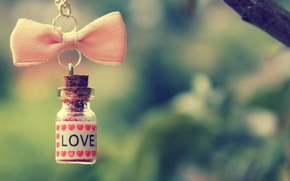 Picture love, pink, branch, hearts, chain, bow, bottle