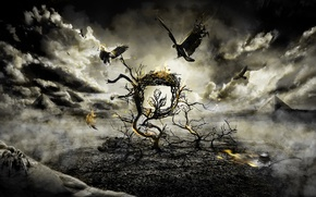 Wallpaper birds, clouds, tree, fire, the darkness, fight, spider, Gothic
