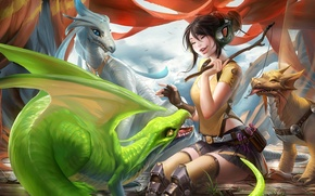 Picture girl, emotions, the game, laughter, fish, dragons, headphones, art, wand, treat, sakimichan