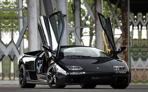 Wallpaper black, tuning, door, supercar, lamborghini, drives, diablo, tuning, the front, Lamborghini, edo competition, Diablo, 6.0
