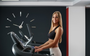 Wallpaper smile, blonde, gym, treadmill workout