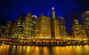 Picture night, lights, river, home, skyscrapers, Chicago, lights, USA, promenade