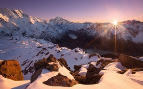 Picture ice, the sun, snow, lake, dawn, Mountains, New Zealand