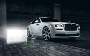 Picture Rolls-Royce, Car, Front, White, Wheels, Class, Premium, Wraith, Vellano