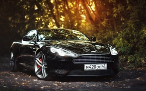 Picture Aston Martin, Car, Front, Black, Sun, Super, Virage