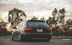 Picture Audi, black, wagon, stance, before