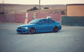 Picture blue, bmw, BMW, the fence, front view, blue, e46